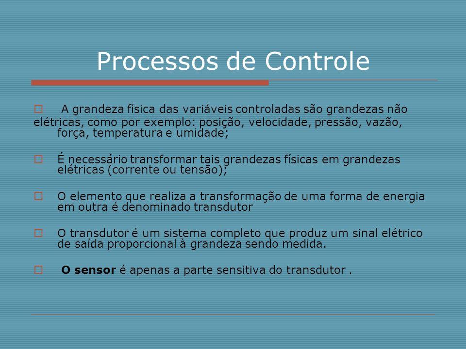 Processos de Controle A grandeza física das variáveis controladas são grandezas não.