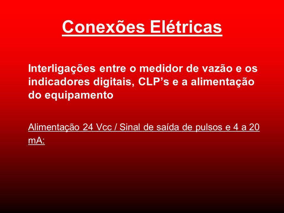 Conexões Elétricas Interligações entre o medidor de vazão e os indicadores digitais, CLP's e a alimentação do equipamento.