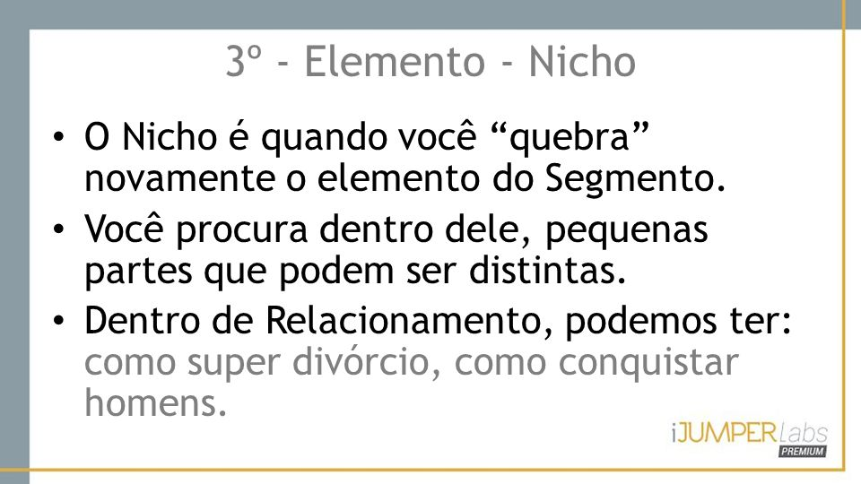 3º - Elemento - Nicho O Nicho é quando você quebra novamente o elemento do Segmento.