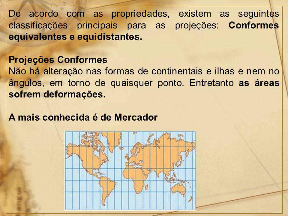 De acordo com as propriedades, existem as seguintes classificações principais para as projeções: Conformes equivalentes e equidistantes.