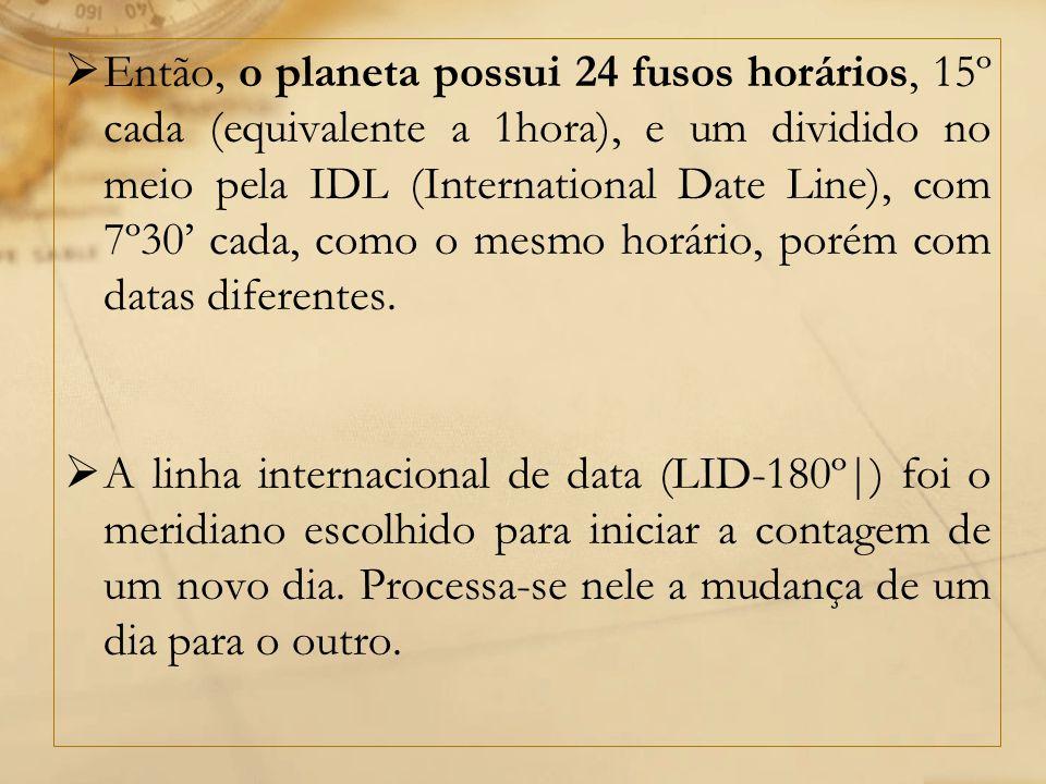 Então, o planeta possui 24 fusos horários, 15º cada (equivalente a 1hora), e um dividido no meio pela IDL (International Date Line), com 7º30' cada, como o mesmo horário, porém com datas diferentes.