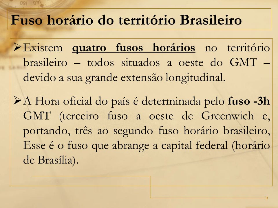 Fuso horário do território Brasileiro