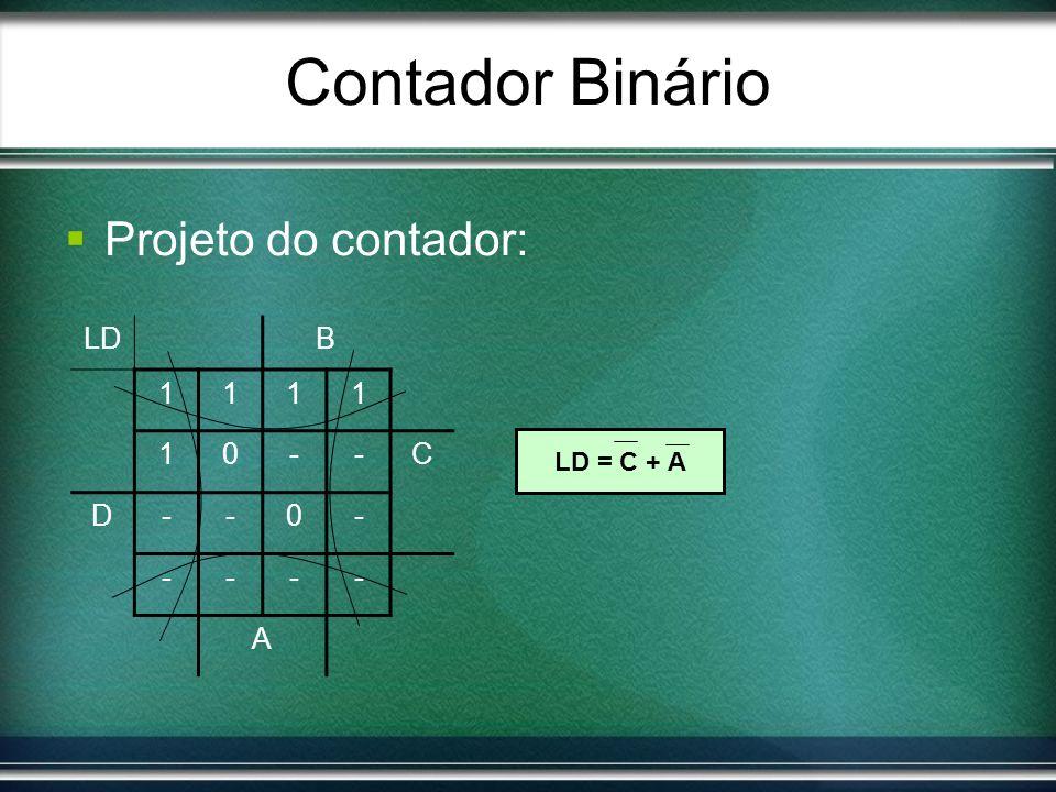 Contador Binário Projeto do contador: LD B 1 - C D A LD = C + A