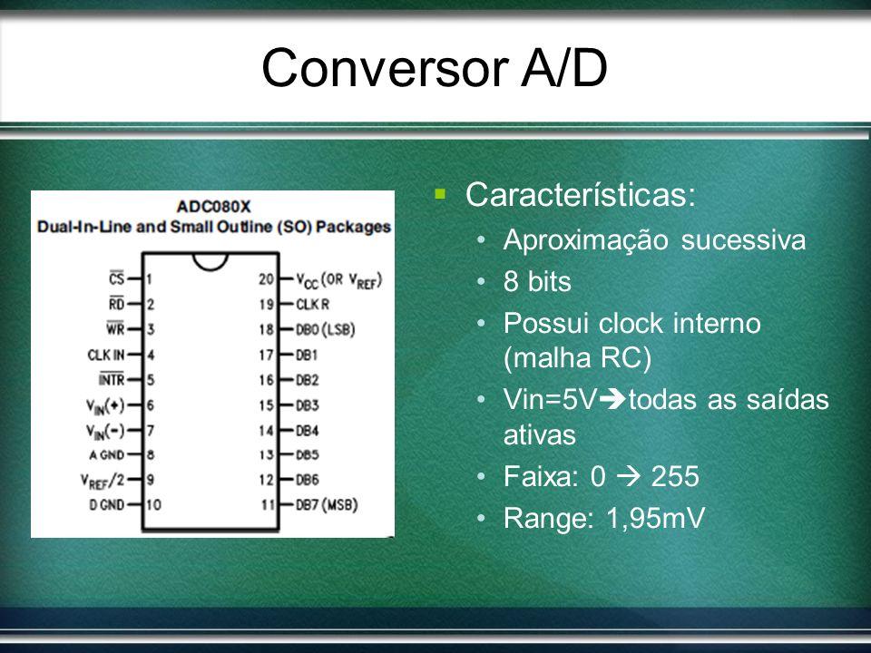Conversor A/D Características: Aproximação sucessiva 8 bits
