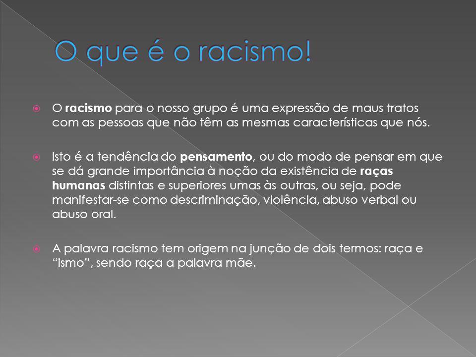 O que é o racismo! O racismo para o nosso grupo é uma expressão de maus tratos com as pessoas que não têm as mesmas características que nós.