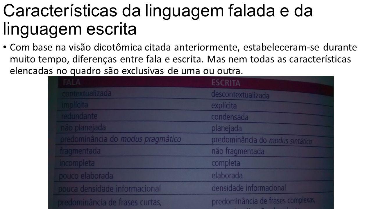 Características da linguagem falada e da linguagem escrita