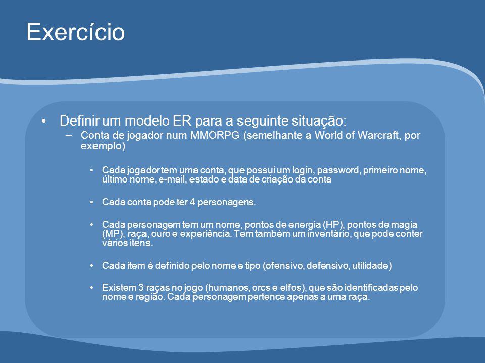 Exercício Definir um modelo ER para a seguinte situação: