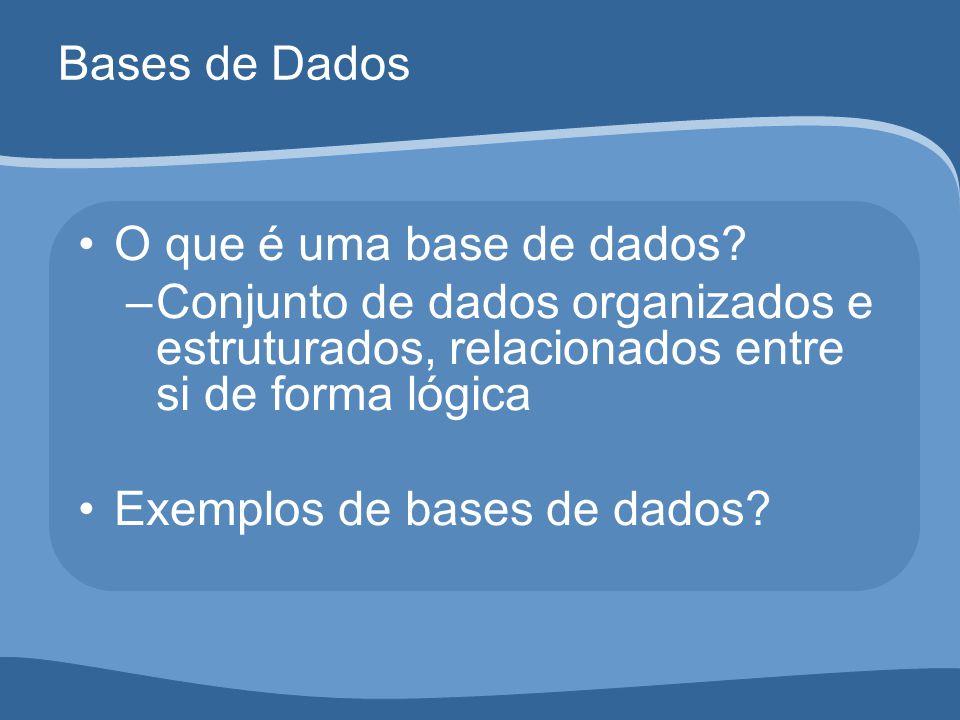Bases de Dados O que é uma base de dados Conjunto de dados organizados e estruturados, relacionados entre si de forma lógica.
