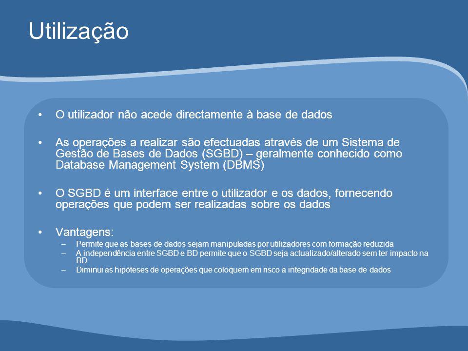 Utilização O utilizador não acede directamente à base de dados