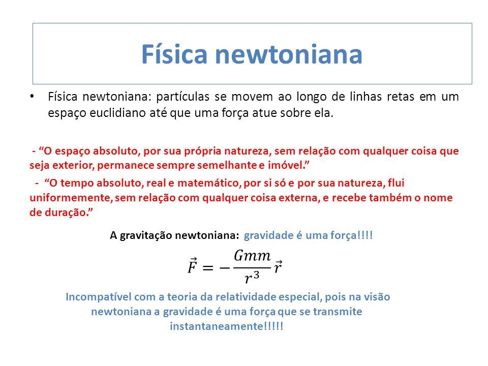 Física newtoniana 𝐹 =− 𝐺𝑚𝑚 𝑟 3 𝑟