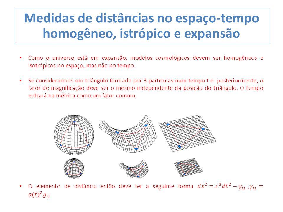 Medidas de distâncias no espaço-tempo homogêneo, istrópico e expansão