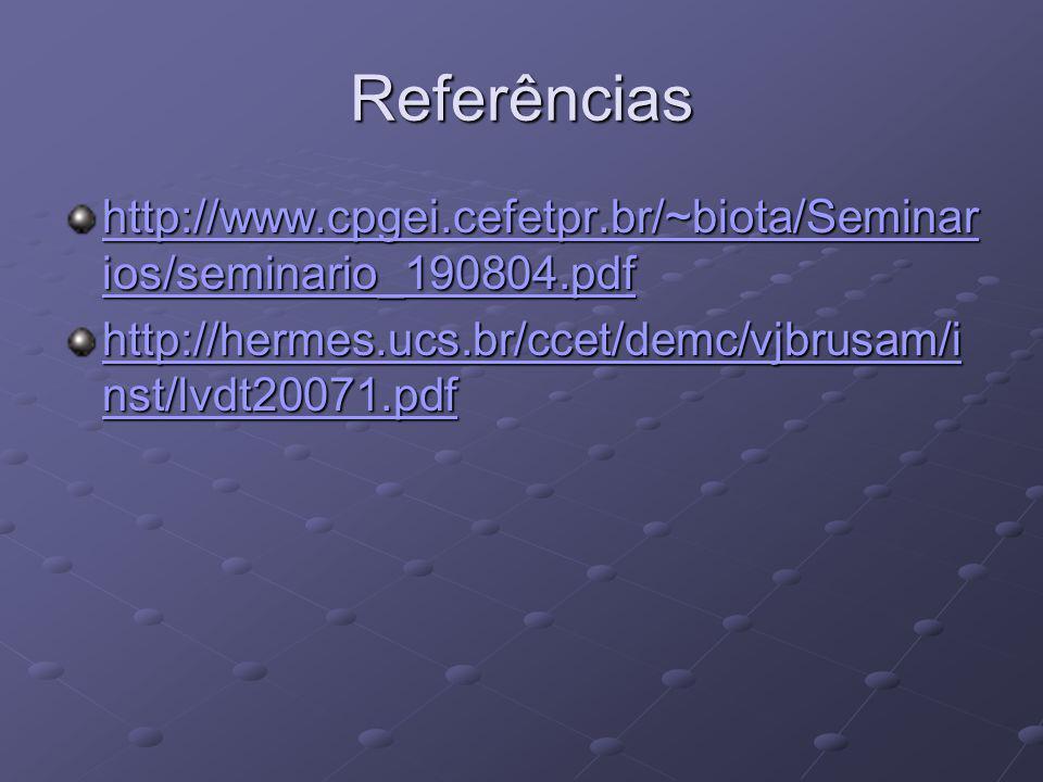 Referências http://www.cpgei.cefetpr.br/~biota/Seminarios/seminario_190804.pdf.