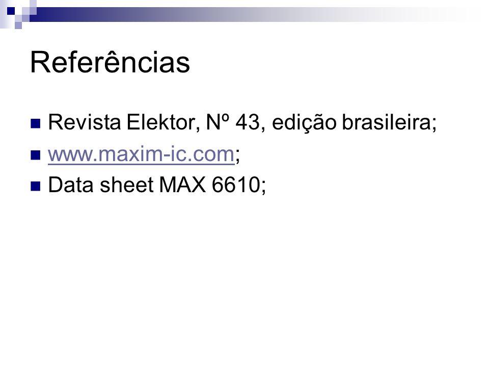Referências Revista Elektor, Nº 43, edição brasileira;