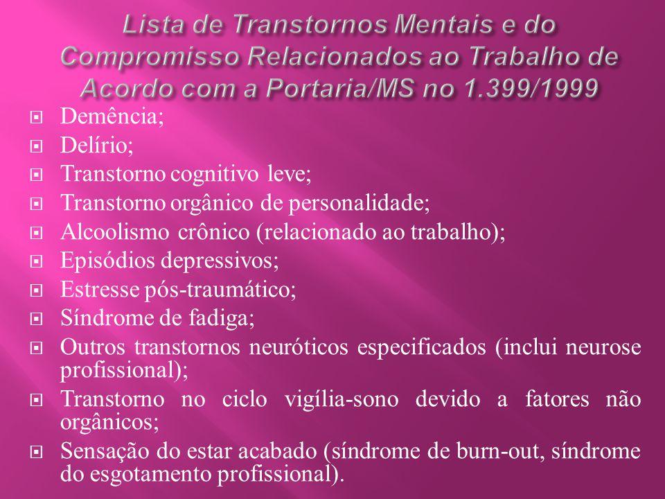 Lista de Transtornos Mentais e do Compromisso Relacionados ao Trabalho de Acordo com a Portaria/MS no 1.399/1999
