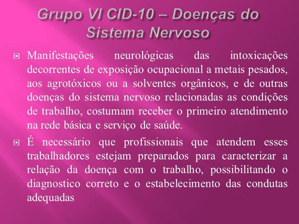 Grupo VI CID-10 – Doenças do Sistema Nervoso