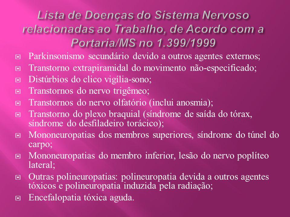 Lista de Doenças do Sistema Nervoso relacionadas ao Trabalho, de Acordo com a Portaria/MS no 1.399/1999