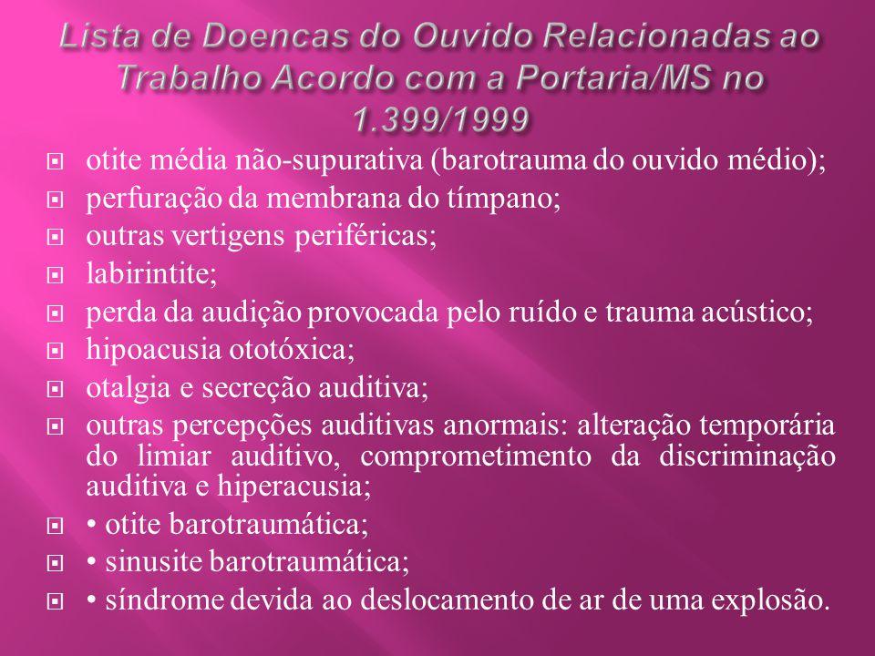 Lista de Doencas do Ouvido Relacionadas ao Trabalho Acordo com a Portaria/MS no 1.399/1999