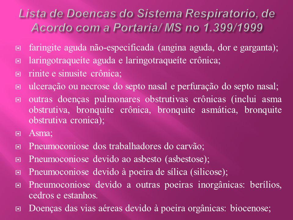 Lista de Doencas do Sistema Respiratorio, de Acordo com a Portaria/ MS no 1.399/1999