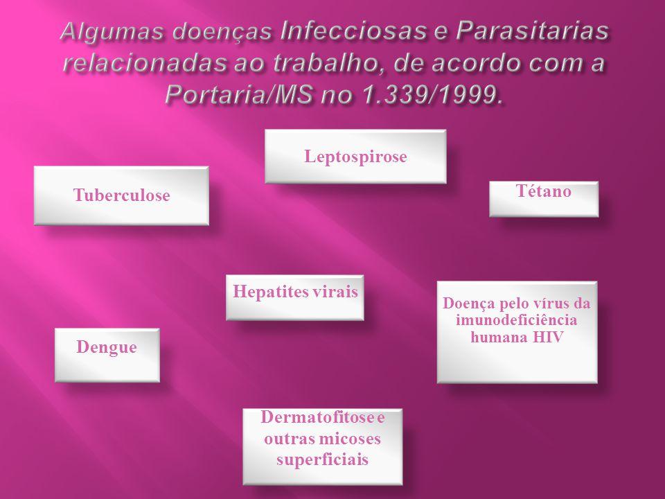 Algumas doenças Infecciosas e Parasitarias relacionadas ao trabalho, de acordo com a Portaria/MS no 1.339/1999.