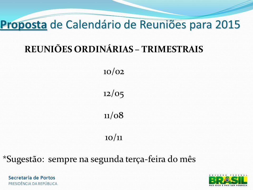 Proposta de Calendário de Reuniões para 2015