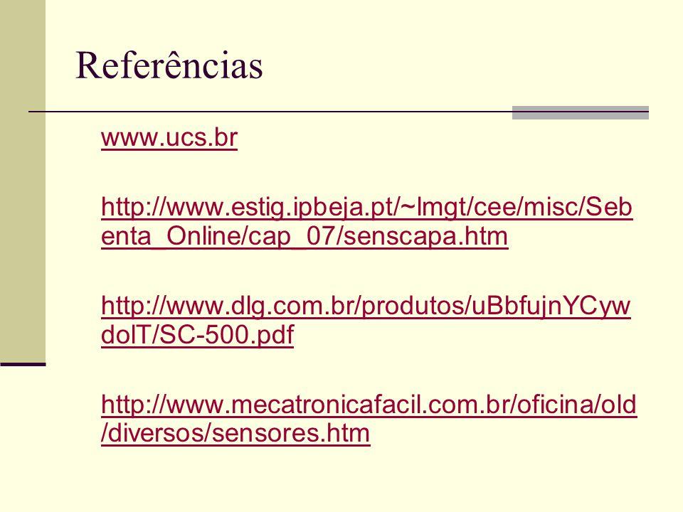 Referências www.ucs.br. http://www.estig.ipbeja.pt/~lmgt/cee/misc/Sebenta_Online/cap_07/senscapa.htm.