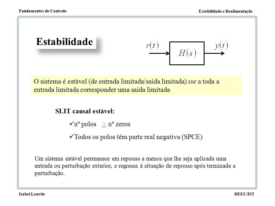 Estabilidade O sistema é estável (de entrada limitada/saída limitada) sse a toda a entrada limitada corresponder uma saída limitada.