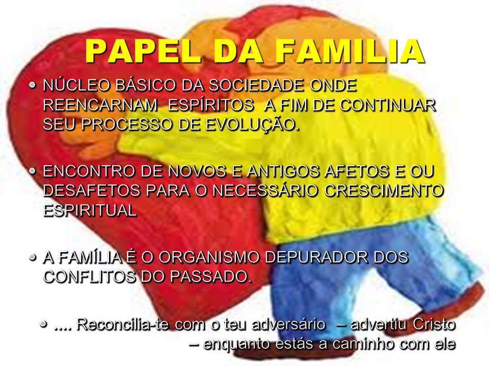 PAPEL DA FAMILIA NÚCLEO BÁSICO DA SOCIEDADE ONDE REENCARNAM ESPÍRITOS A FIM DE CONTINUAR SEU PROCESSO DE EVOLUÇÃO.