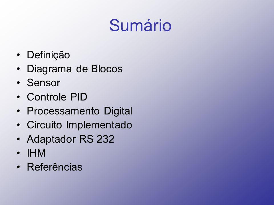 Sumário Definição Diagrama de Blocos Sensor Controle PID