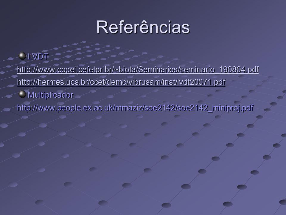 Referências LVDT. http://www.cpgei.cefetpr.br/~biota/Seminarios/seminario_190804.pdf. http://hermes.ucs.br/ccet/demc/vjbrusam/inst/lvdt20071.pdf.