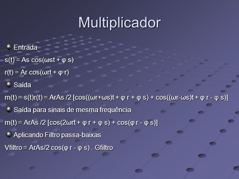 Multiplicador Entrada s(t) = As cos(ωst + φ s)