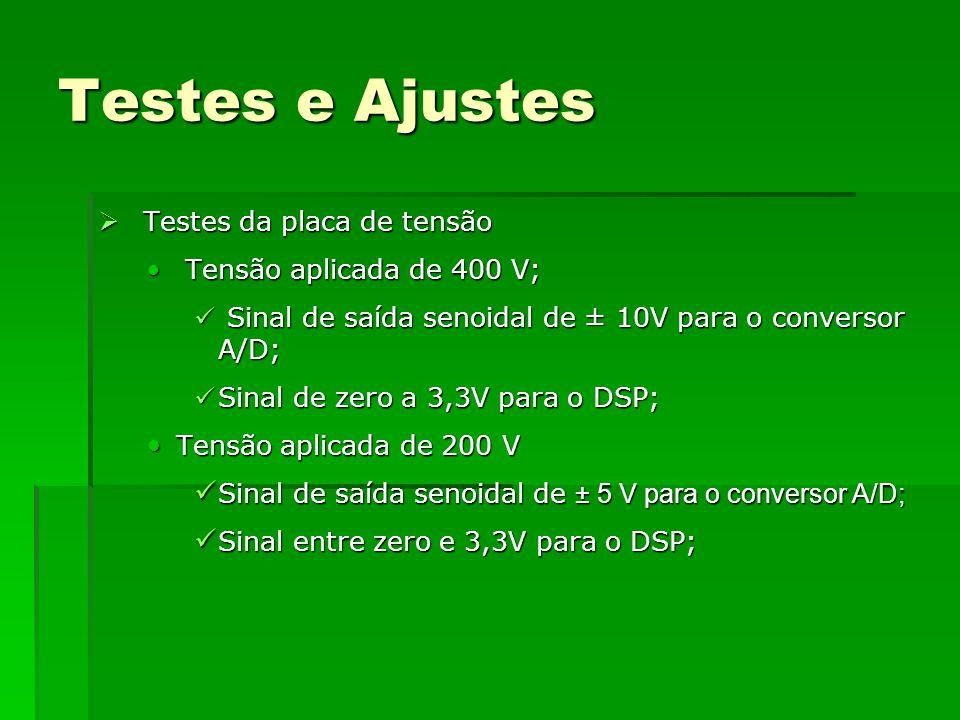 Testes e Ajustes Testes da placa de tensão Tensão aplicada de 400 V;
