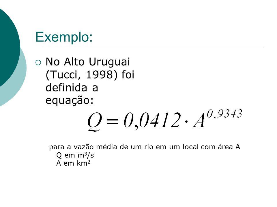 Exemplo: No Alto Uruguai (Tucci, 1998) foi definida a equação: