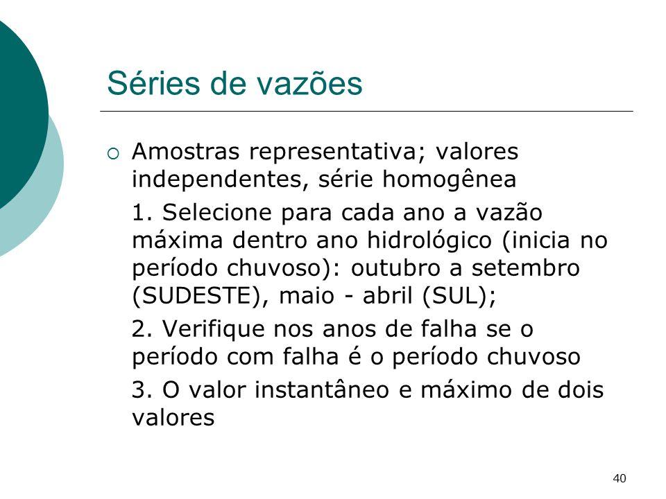Séries de vazões Amostras representativa; valores independentes, série homogênea.