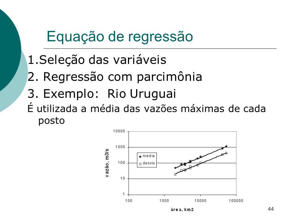 Equação de regressão 1.Seleção das variáveis