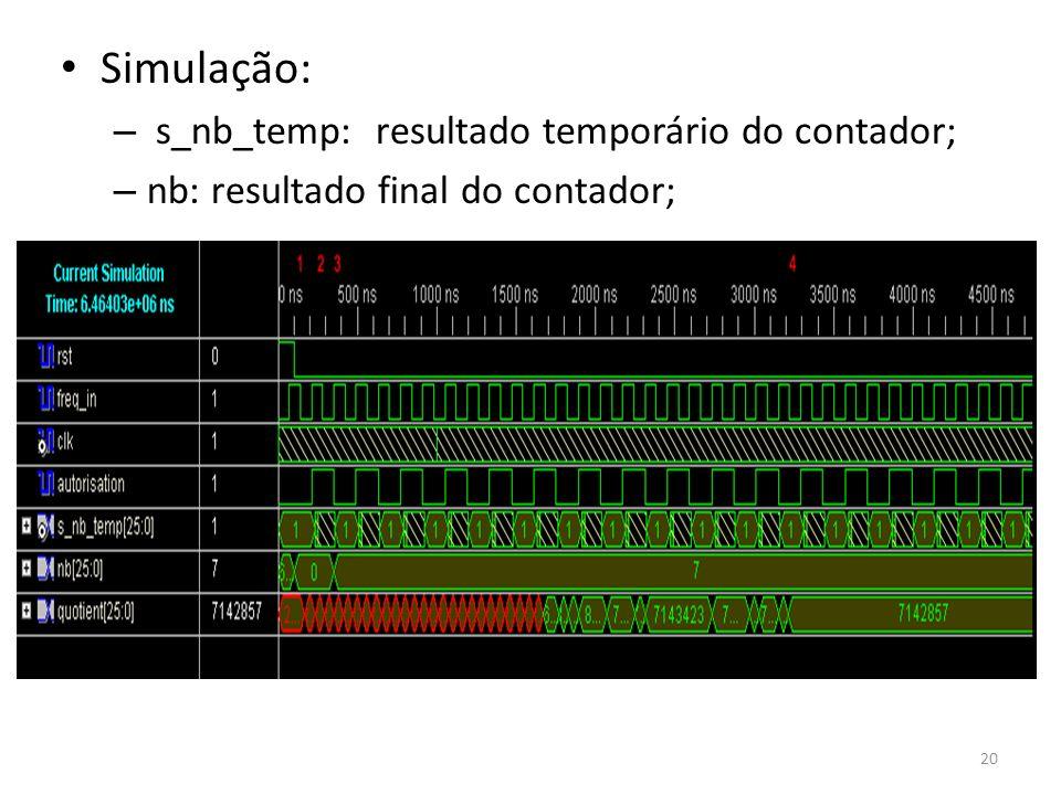 Simulação: s_nb_temp: resultado temporário do contador;