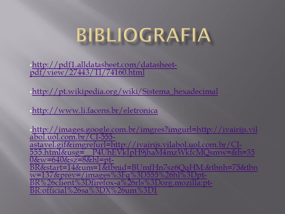 BIBLIOGRAFIA http://pdf1.alldatasheet.com/datasheet- pdf/view/27443/TI/74160.html. http://pt.wikipedia.org/wiki/Sistema_hexadecimal.