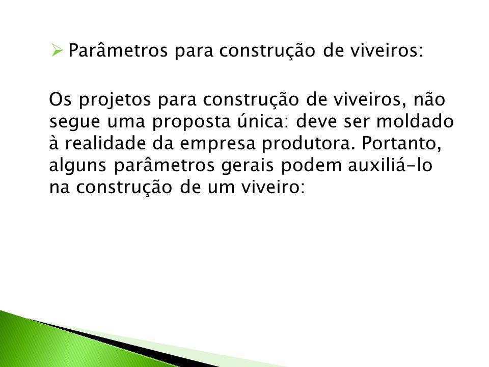 Parâmetros para construção de viveiros: