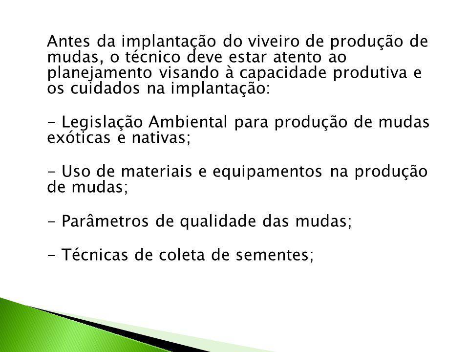 - Legislação Ambiental para produção de mudas exóticas e nativas;
