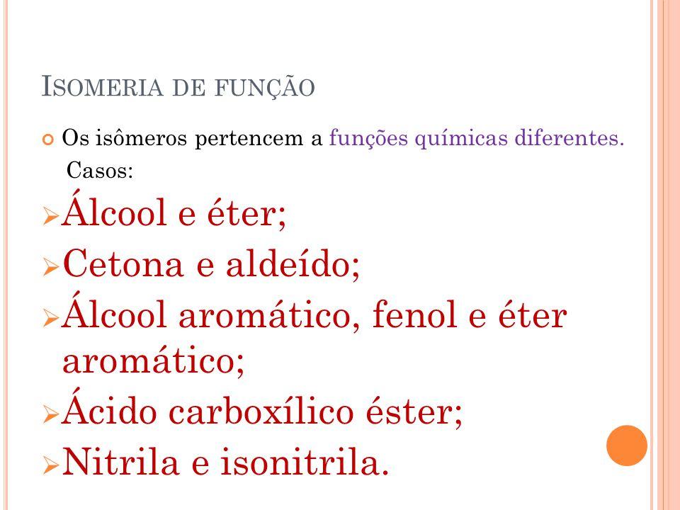 Álcool aromático, fenol e éter aromático; Ácido carboxílico éster;