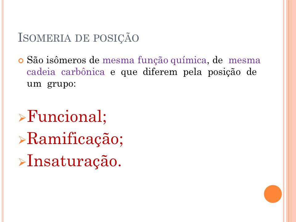 Funcional; Ramificação; Insaturação. Isomeria de posição