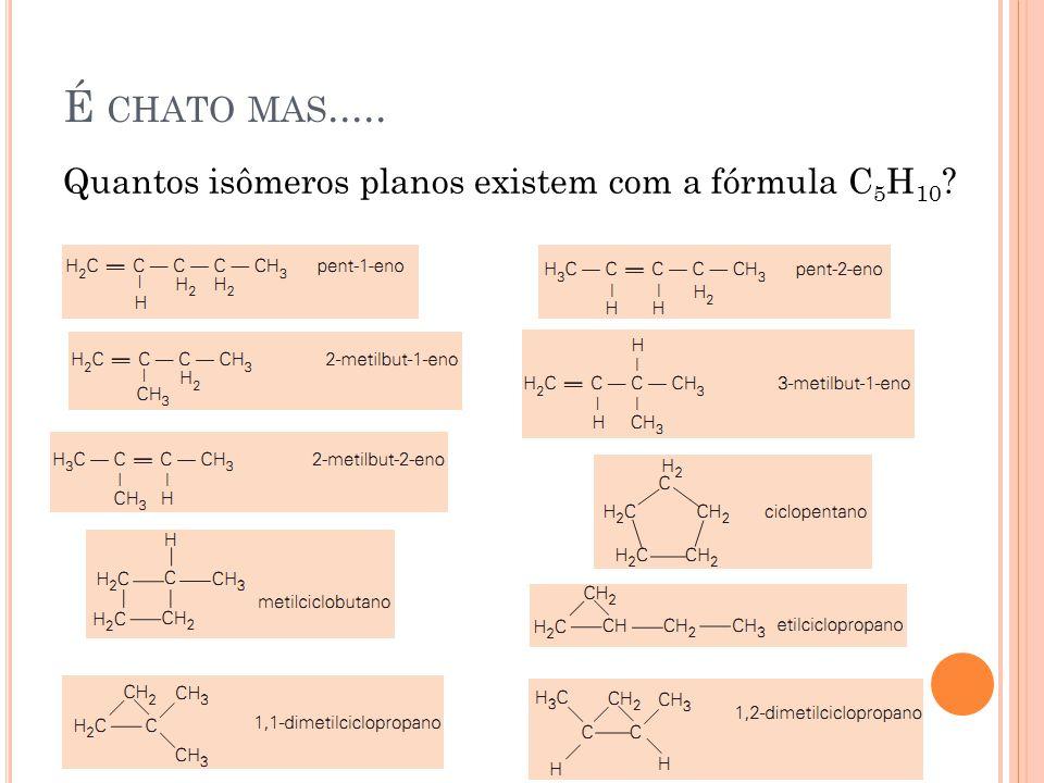 É chato mas..... Quantos isômeros planos existem com a fórmula C5H10