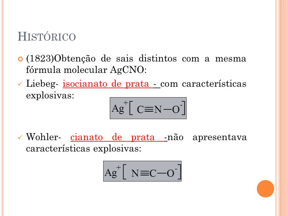 Histórico (1823)Obtenção de sais distintos com a mesma fórmula molecular AgCNO: Liebeg- isocianato de prata - com características explosivas: