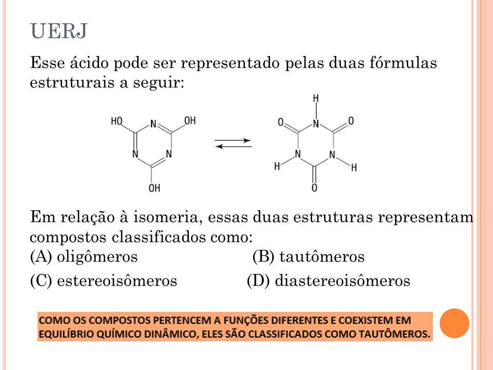 UERJ Esse ácido pode ser representado pelas duas fórmulas estruturais a seguir: