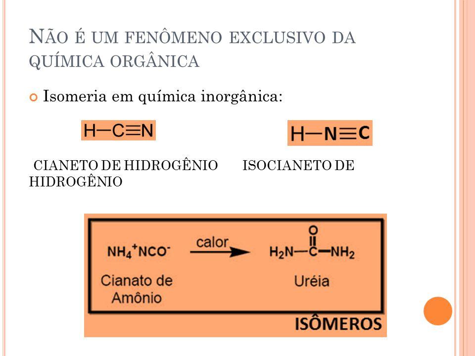 Não é um fenômeno exclusivo da química orgânica