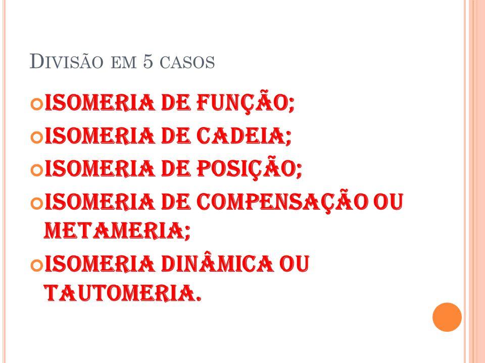 isomeria de compensação ou metameria; Isomeria dinâmica ou tautomeria.