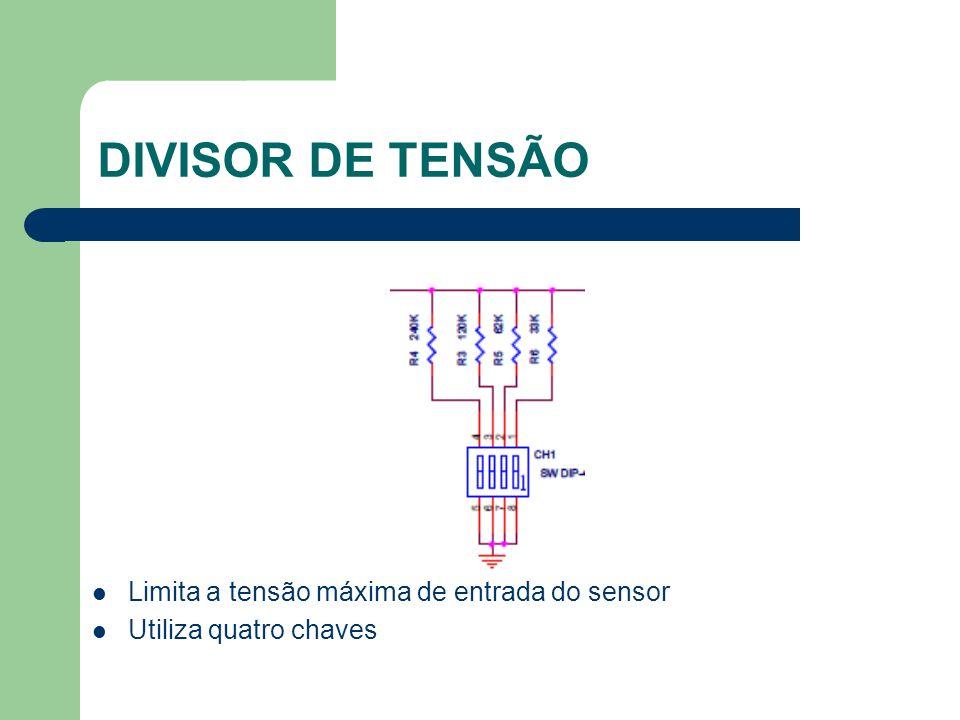 DIVISOR DE TENSÃO Limita a tensão máxima de entrada do sensor
