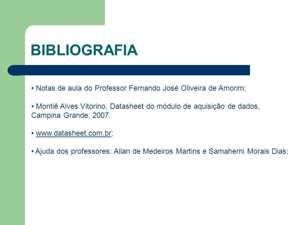 BIBLIOGRAFIA Notas de aula do Professor Fernando José Oliveira de Amorim;