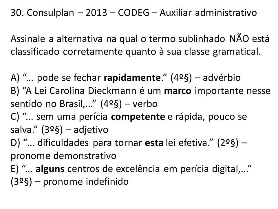 30. Consulplan – 2013 – CODEG – Auxiliar administrativo