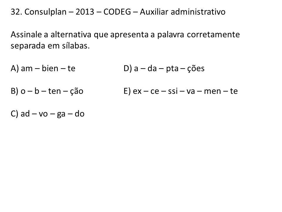 32. Consulplan – 2013 – CODEG – Auxiliar administrativo