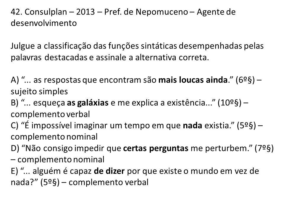 42. Consulplan – 2013 – Pref. de Nepomuceno – Agente de desenvolvimento